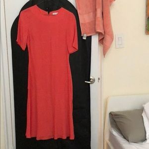 & Other Stories Drop Waist Orange Midi Dress